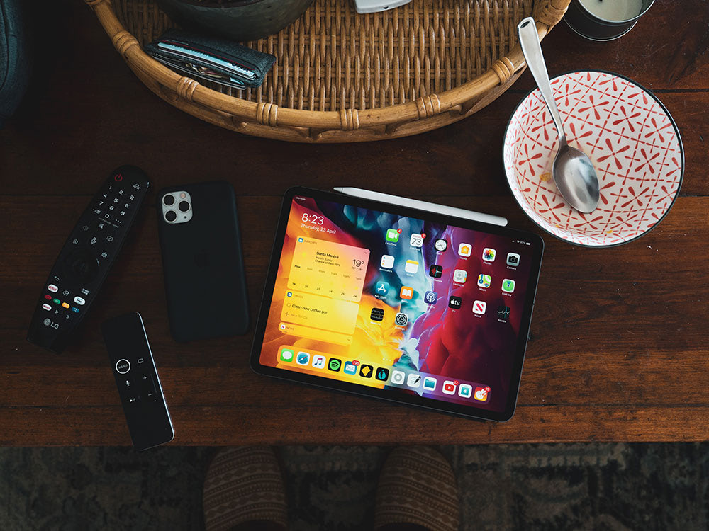 Devices on table