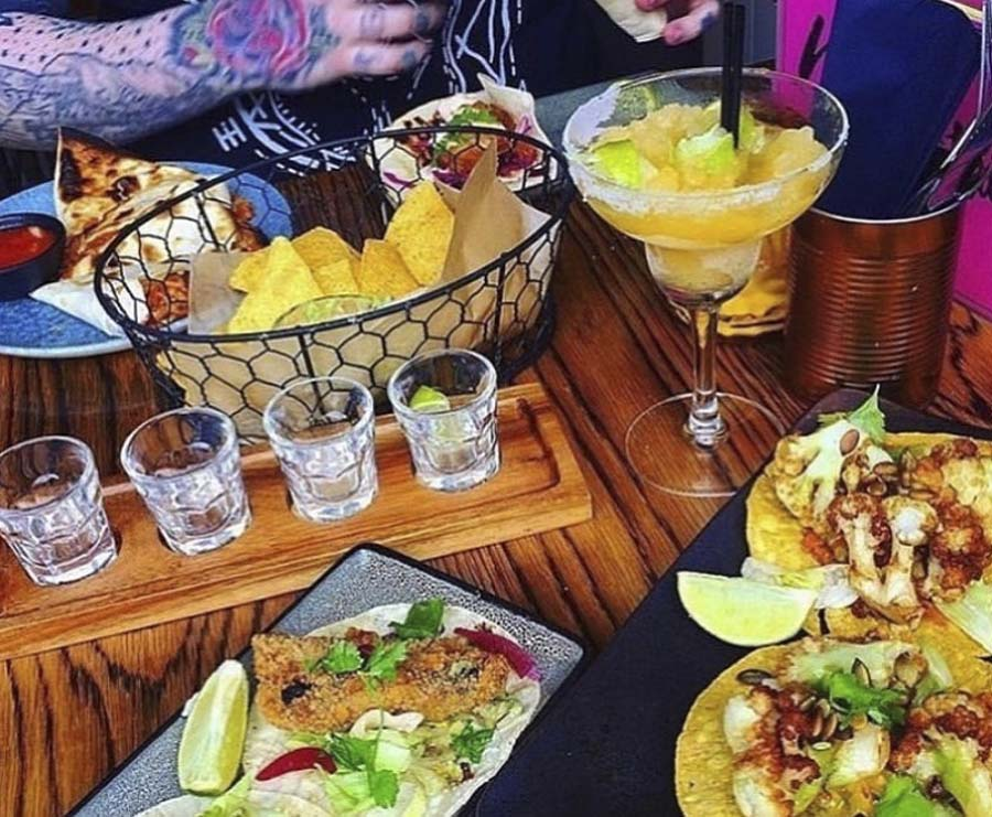 Mexican restaurant cocktails and food