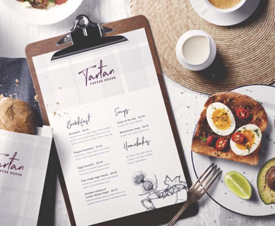 Tartan Coffee house menu